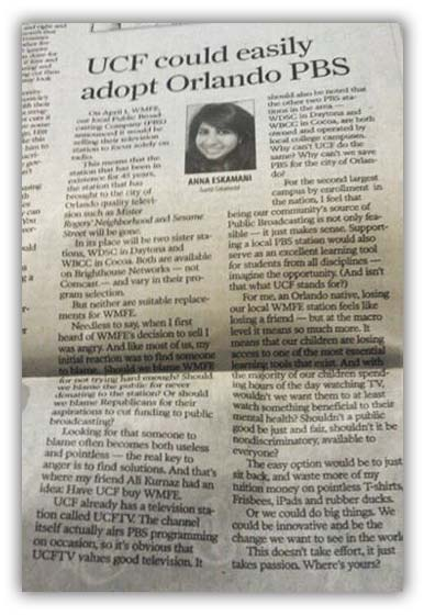 News clipping of Anna saving PBS in Central Florida